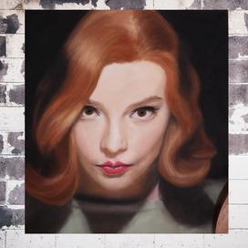 Toz pastellerle Beth Harmon Portresi
