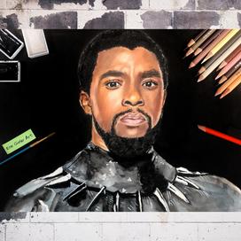 Chadwick Boseman Karışık Boyalar Portresi