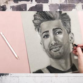 Renkli Kağıt Üzerine Kuruboyayla Portre