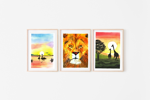 Africana Set of 3 Watercolor Paintings