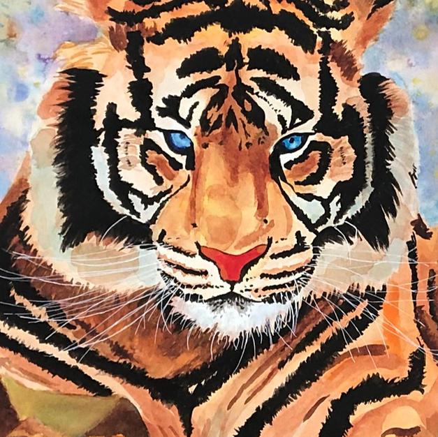 Watercolor Tiger Portrait