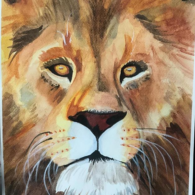 Watercolor Lion Portrait