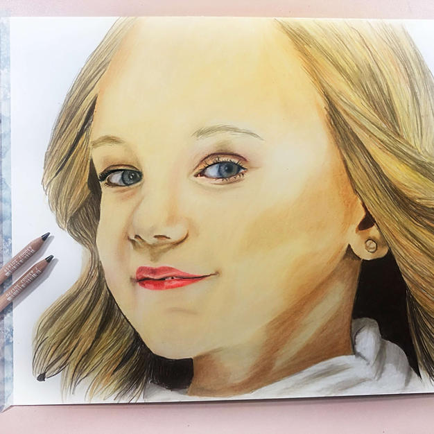 Girl Portrait With Colored Pencils