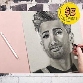 Tan France Portrait with 2 Colored Pencils
