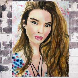 Sulu Boya ile Kadın Portresi