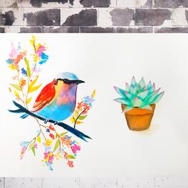 Sulu Boya Kolay Kuş ve Sukulent Çizimi