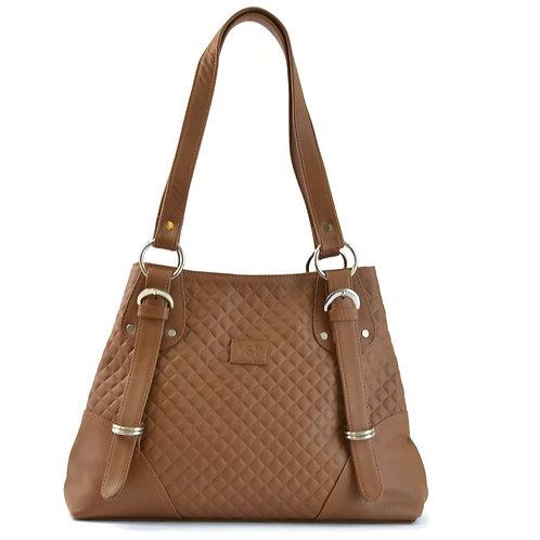 Elegant Quilted Camel Leather Shoulder Bag Canada