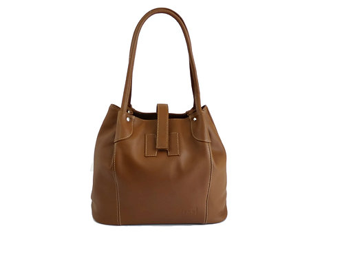 Caramel Leather Bucket Handbag