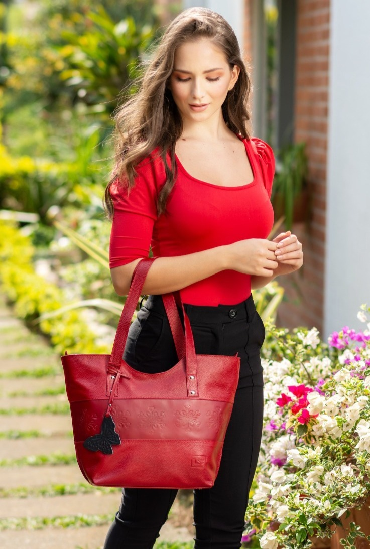 Red Luna Leather Tote Bag
