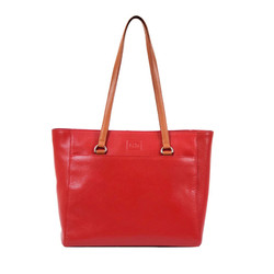 Monique Red Leather Tote Bag