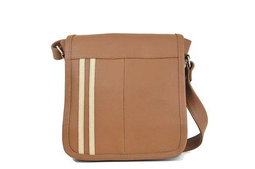 Caramel Leather Crossbody Bag for men or women
