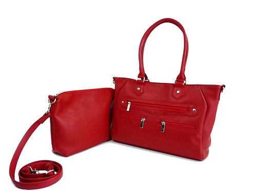 Red Leather Handbag with red insert organizer