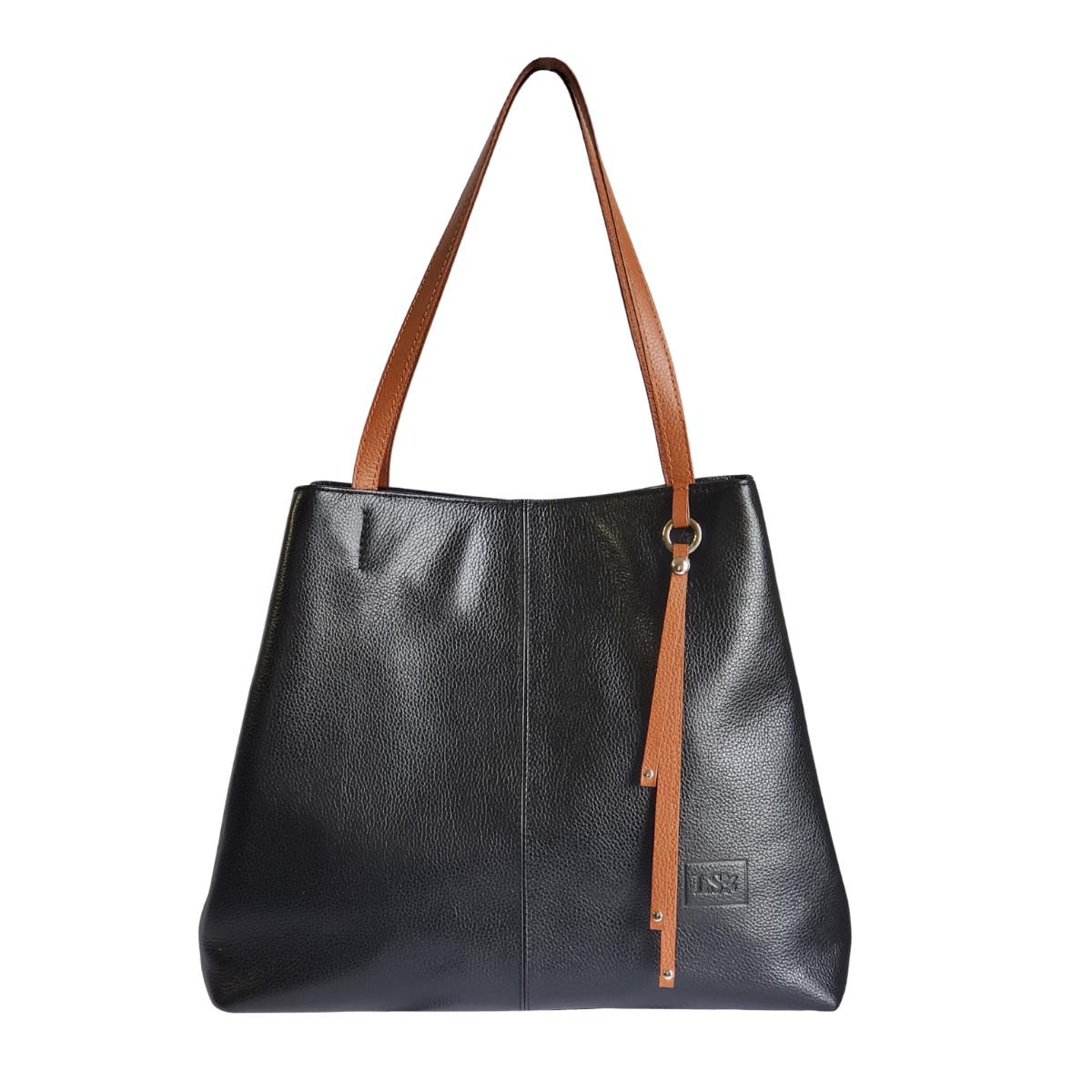 Sabrina Black Leather Handbag