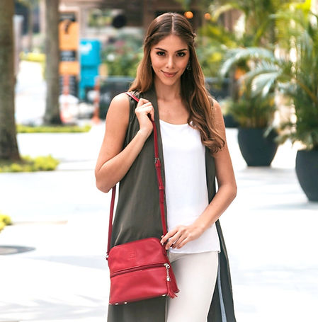Lily Red Leather Crossbody Bag