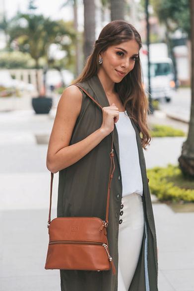 Lily Caramel Leather Crossbody Bag