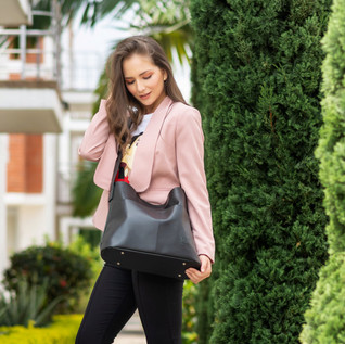 Sofia Black Vegan Tote Bag