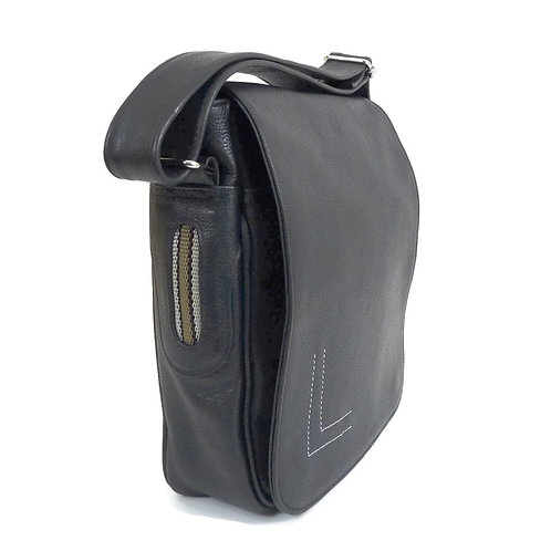 Genuine Black Leather Crossbody Bag