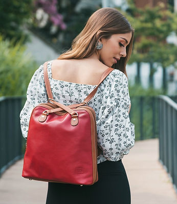 Monaco Red Leather Backpack