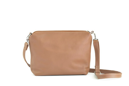 Camel Leather Crossbody Bag