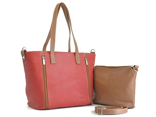 Stylish Red Tote Leather Handbag and Tan organizer