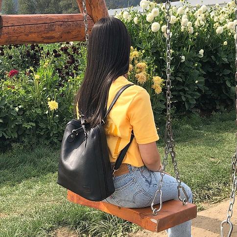 Monaco Black Leather Backpack