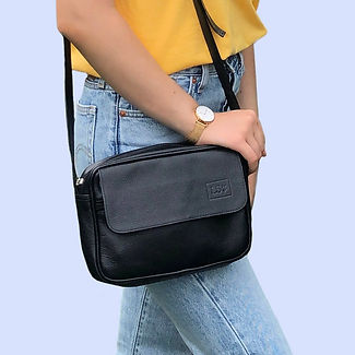 Black Leather Crossbody Bag on Sale