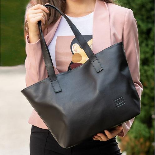 Women with Black Vegan Bag