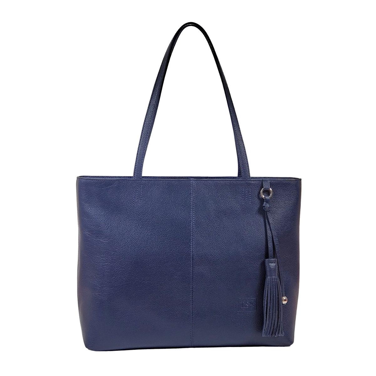 Alyssa Blue Leather Handbag