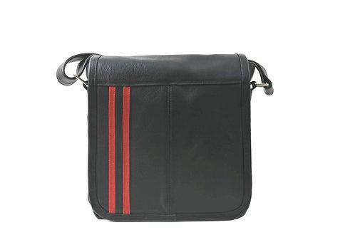 Black Leather Crossbody Bag for men or women