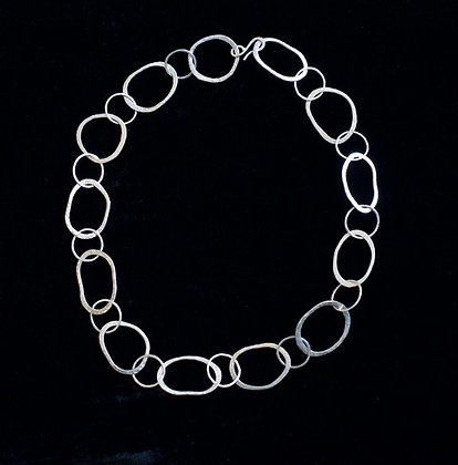 Sterling Hammered Link Neck Chain