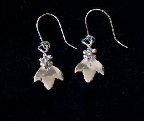 Grape and Leaf Earrings