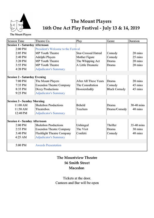 2019 One Act Play Festival Schedule - Th