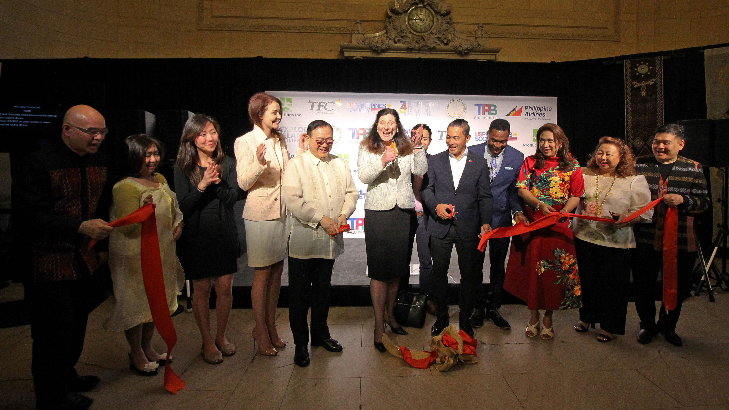 The ceremonial ribbon cutting of the Explore Islands Philippines exhibit at the Vanderbilt Hall of the Grand Central Terminal, New York on May 9, 2018.