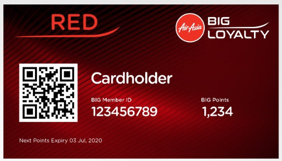 Sample AirAsia Membership Card which can be available on the BIG Loyalty App