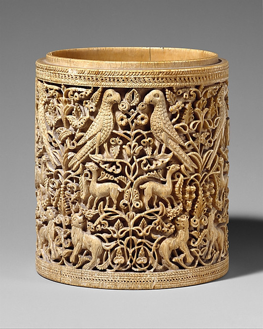 Pyxis, Cordova, Spain, 950-75 AD, Metropolitan Museum of Art.Tree of life composition