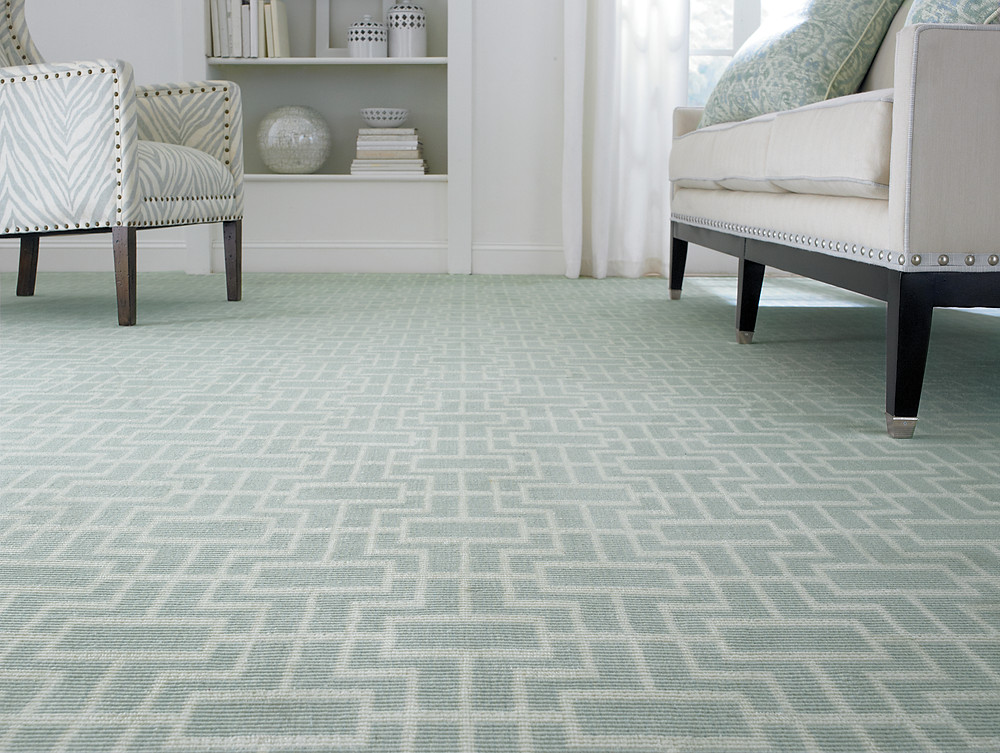 patterned wool carpet installed in home