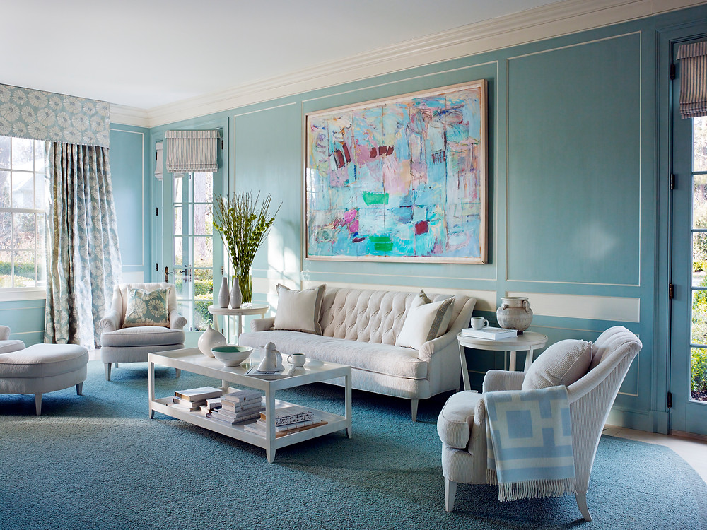 A custom shaped carpet from J Brooks defines this soft colored space by Mary Drysdale