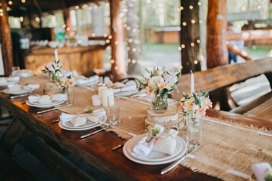 rustic table with blush accents