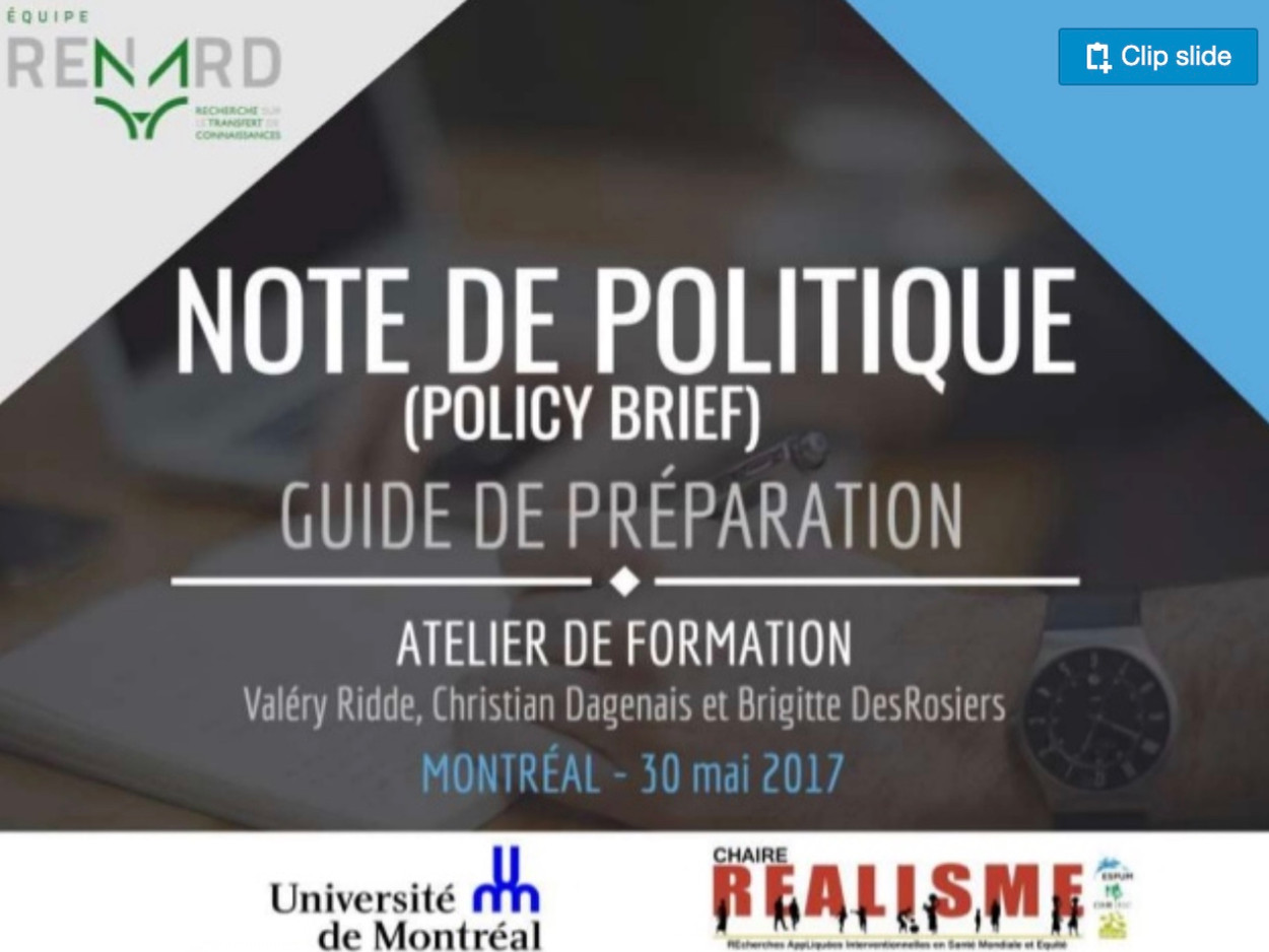 Note de politique (Policy Brief) - Guide de préparation