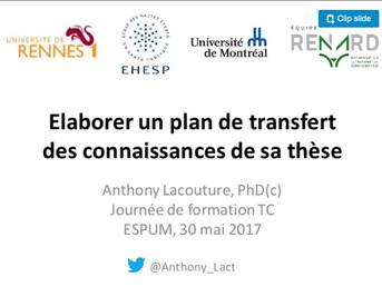 Elaborer un plan de transfert de connaissances de sa thèse