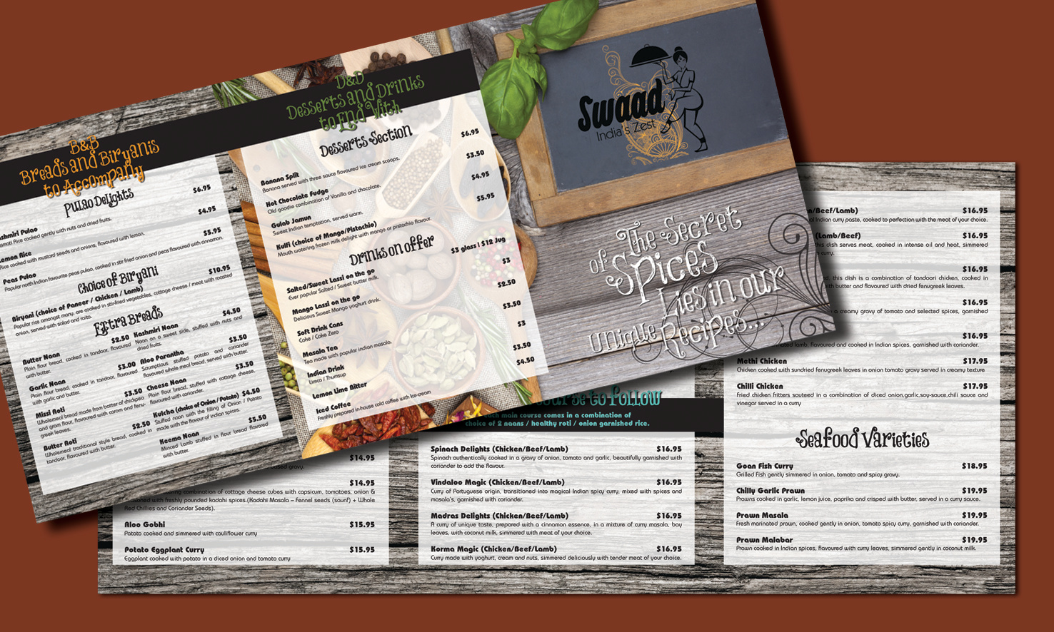 Restaurant Menu A4 size 6 pages