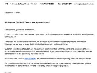 Letter to Parents RE: Positive COVID-19 Case at New Myrnam School