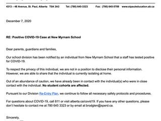 Updated Letter Regarding Positive COVID-19 Case at New Myrnam School