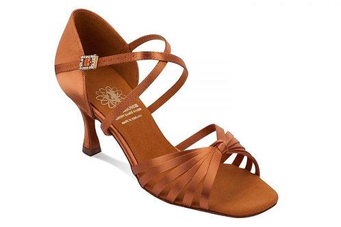"1066 dark tan satin 2"" flare heel"