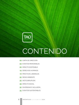 REPORTE DE SOSTENIBILIDAD: TAO 2020
