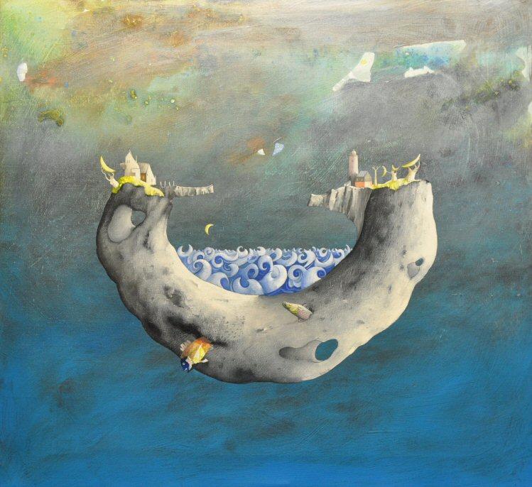 Acrilico e olio su tela  55x60  L'isola della luna.JPG