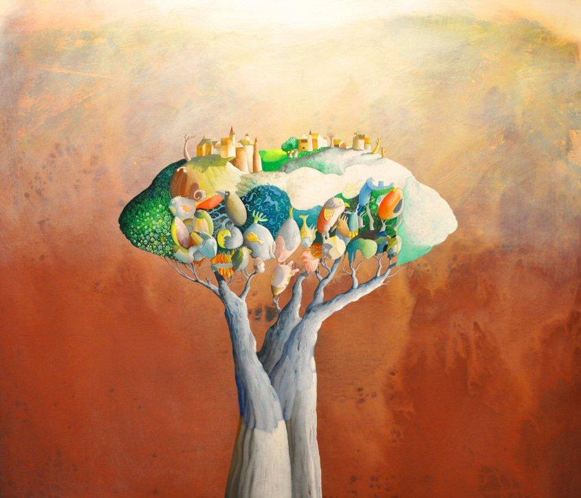 Acrilico e olio su tela  110x130    L'albero felice  .JPG