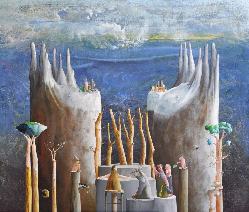 Acrilico e olio su tela  170x200  L' organista del bosco.JPG