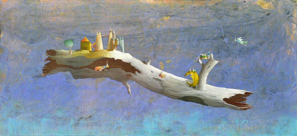Acrilico e olio su tela  60x130   Tronco in cielo.JPG