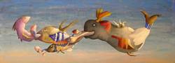Acrilico e olio su tavola  40x110      La balena      .JPG